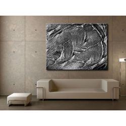 Nowoczesne obrazy - srebrna abstrakcja - duży obraz na ścianę Antyki i Sztuka