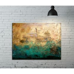 Fakturowany obraz do salonu - szmaragd w złocie