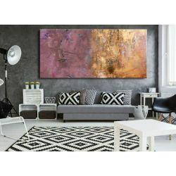 Duże obrazy nowoczesne - ręcznie malowane - subtelny fiolecik metalicznym wykończeniem Akryl