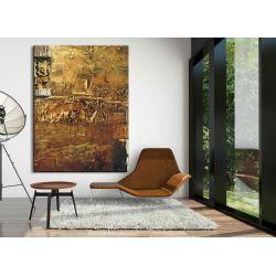 Obrazy nowoczesne - strukturalna abstrakcja - złoto-miedziana fanaberia Antyki i Sztuka