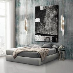 Obrazy nowoczesne - strukturalna abstrakcja - srebrne kontrasty Antyki i Sztuka