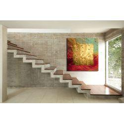 """Zachwycający kształtem, kolorem i teksturą abstrakcyjny obraz """"barwy i metal"""" Akryl"""