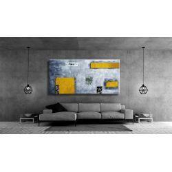 Idealny dla miłośników nowoczesności duży obraz na ścianę do salonu - Żółć i popiel Akryl