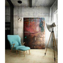Efektownie rzeźbiony abstrakcyjny obraz wielkoformatowy Akryl