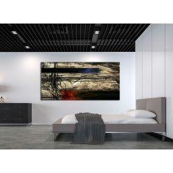 artystyczne kontrasty - obraz abstrakcyjny metaliczny z akcentem czerwieni i granatu Antyki i Sztuka