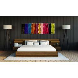 Abstrakcyjny obraz do salonu - podłużny w pasy 150x80cm
