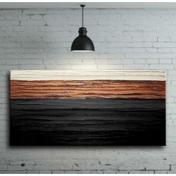 elegancka czerń z miedzią - nowoczesny obraz abstrakcyjny z grubą strukturą Antyki i Sztuka