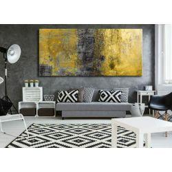 obrazy abstrakcyjne na ścianę - szaro żółte żywioły Antyki i Sztuka