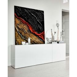 Czerwony akcent - efektowny duży obraz nowoczesny Obrazki i obrazy