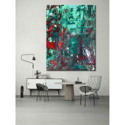 Abstrakcyjne zielenie- efektowny duży obraz nowoczesny 100x150cm Antyki i Sztuka