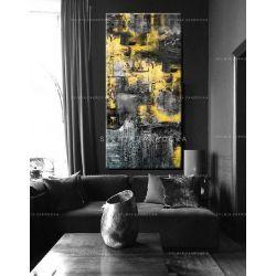 Duże obrazy nowoczesne - ręcznie malowane - zolto popielata erozja Antyki i Sztuka