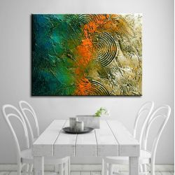Duże obrazy nowoczesne - ręcznie malowane - jesienne tloczenie Akryl
