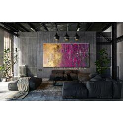 Duże obrazy nowoczesne - ręcznie malowane - fioletowo-zloty ambaras Antyki i Sztuka
