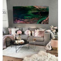 Stylowe obrazy do salonu - szmaragd z miedzią