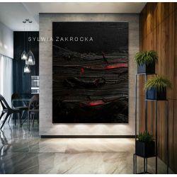 Stylowe obrazy do salonu - strukturalna czern
