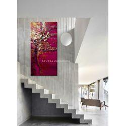 Promienna fuksja obrazy do salonu nowoczesnego Akryl