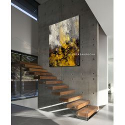 Musztardowo mglista abstrakcja obrazy do salonu nowoczesnego Antyki i Sztuka