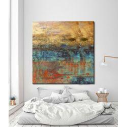 Abstrakcja ze złotem - abstrakcyjne obrazy do modnego salonu Antyki i Sztuka