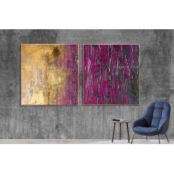 Złoto-fioletowy dyptyk - obraz na płótnie Antyki i Sztuka