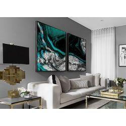 Srebrny szmaragd dyptyk - obraz na płótnie Antyki i Sztuka