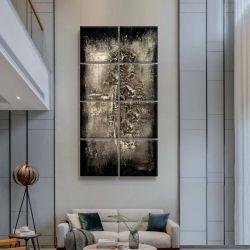 SILVER BLACK - Wielkoformatowy obraz na płótnie abstrakcyjny art&texture® Antyki i Sztuka