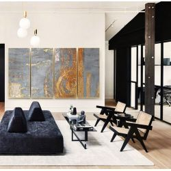 GOLDEN ROSE - Wielkoformatowy obraz na płótnie abstrakcyjny art&texture® Antyki i Sztuka