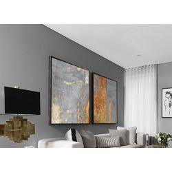Złoty akcent dyptyk - Wielkoformatowy obraz na płótnie abstrakcyjny art&texture® Akryl