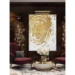 GOLDEN FLAKES - Wielkoformatowy obraz na płótnie abstrakcyjny art&texture™ Malarstwo