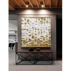 GLANCE - Wielkoformatowy obraz na płótnie abstrakcyjny ze złoto białą grubą strukturą idealny do salonu glamour Antyki i Sztuka