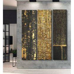 DELUXE TRYPTYCH - Trzy duże obrazy jako bardzo luksusowa dekoracja na ścianę, do ekskluzywnego salonu lub innego reprezentacyjnego wnętrza Antyki i Sztuka