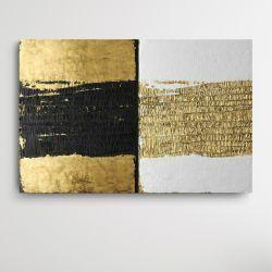 CONTRASTICO - Dwuczęściowy obraz artystyczny z abstrakcyjną strukturą w kontratujących kolorach czerni, bieli i złota  Antyki i Sztuka