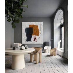 ALTERNATIVO - Obraz abstrakcyjny w barwne plamy do loftu i nowoczesnego wnętrza w kolorach bieli, pomarańczu i grafitu Antyki i Sztuka