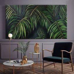 PALMERA - obraz z wyrzeźbionym w strukturze motywem liści tropikalnych w kolorze butelkowej zieleni i szmaragdu Antyki i Sztuka