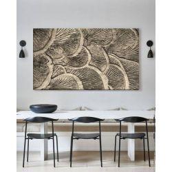 ORGANICO - Obraz z płaskorzeźbą w odcieniu platyny, bardzo dekoracyjne organiczne formy, płaskorzeźba na ścianę Antyki i Sztuka