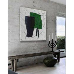 GREEN DOMINANTA - nowoczesny obraz do salonu zielony abstrakcja