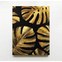 GOLDEN MONSTERA - obraz z płaskorzeźbą wielkoformatowy na płótnie z metalicznymi monsterami na czarnym tle loft