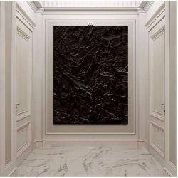 BLACK OCEAN - Dystyngowany obraz z czarnymi eleganckimi rzeźbieniami bardzo efektowna dekoracja ścienna strukturalna