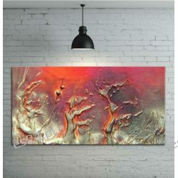 Obraz ręcznia malowany na płótnie galeryjnym ZŁOTE FANTAZJE 70x100cm Obrazki i obrazy