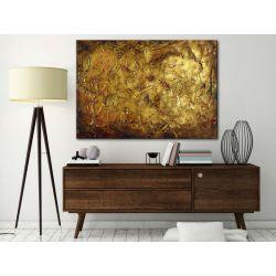 Obraz ręcznie malowany na płótnie galeryjnym ZŁOTE FAKTURY 70x100cm Antyki i Sztuka
