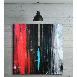 Obraz ręcznie malowany na płótnie galeryjnym ABSTRAKCJA Z CZERWIENIĄ 80x80cm Akryl