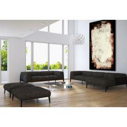 Beżowe kontrasty - Duże obrazy do salonu ręcznie malowane Akryl