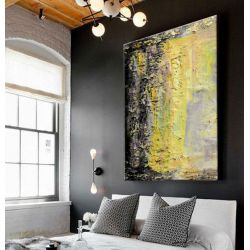 Żółto popielata abstrakcja - Bardzo duży obraz na ścianę Akryl