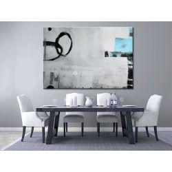 Obrazy nowoczesne - duże obrazy ręcznie malowane - Abstrakcja z błękitem Antyki i Sztuka