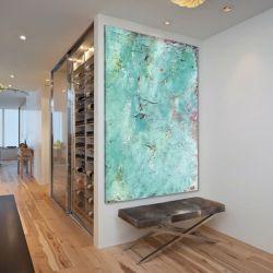 Obraz na ścianę do salonu z grubą strukturą akrylową - Błękit i akcenty Akryl