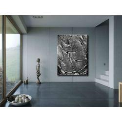 Modny duży obraz do salonu - srebrne struktury Antyki i Sztuka