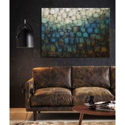 Obraz abstrakcyjny grubo fakturowany z metalicznym wykończeniem - mozaika z niebieskim Antyki i Sztuka