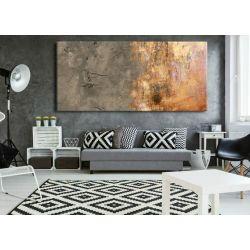 Obrazy ręcznie malowane - metaliczna abstrakcja z popielatym beżem Akryl