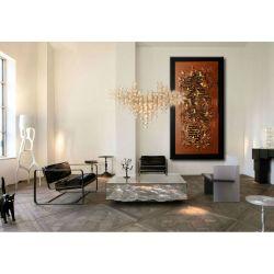 """Obrazy abstrakcyjne - z rzeźbą """"brązowa metaliczna struktura"""" Malarstwo"""
