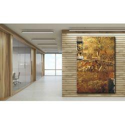 Obrazy abstrakcyjne - z rzeźbą - złoto miedziana fanaberia