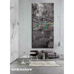 Srebrna fantazja - wielkoformatowa dekoracja ścienna z posrebrzaną płaskorzeźbą, efektowny obraz do salonu Akryl